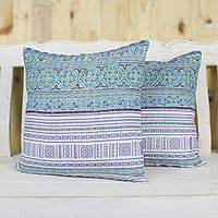 Cotton blend cushion covers, 'Hmong Sky' (pair) - Cotton Blend Cushion Covers Woven by Hmong Artisans (Pair)