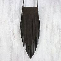 Leather sling, 'Simply Bohemian in Espresso' - Fringed Leather Sling Handbag in Espresso from Thailand