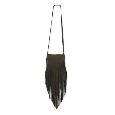 Fringed Leather Sling Handbag in Espresso from Thailand