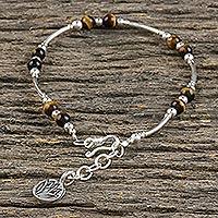 Tiger's eye beaded bracelet, 'Lovely Life' (Thailand)