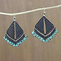 Turquoise dangle earrings, 'Morning Drizzle' - Turquoise and Karen Silver Dangle Earrings from Thailand