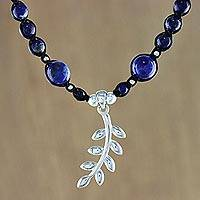 Lapis lazuli beaded macrame pendant necklace, 'Leaf in the Sky' - Lapis Lazuli Beaded Leaf Pendant Necklace from Thailand