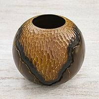 Wood decorative vase, 'Geotic Beginnings' - Hand Carved and Etched Mango Wood Decorative Spherical Vase