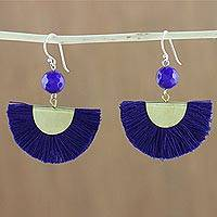 Quartz dangle earrings, 'Festival in Ultramarine' - Quartz and Brass Bead Dangle Earrings with Cotton Fringe