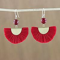Quartz dangle earrings, 'Festival in Red' - Quartz and Brass Bead Dangle Earrings with Cotton Fringe