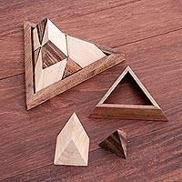 Wood puzzle, 'Intricate Pyramid' - Raintree Wood Pyramid Puzzle from Thailand
