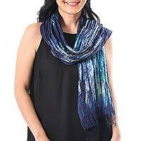 Tie-dyed silk scarf, 'Impressionist Sea' - Blue and Green Tie-Dyed Silk Fringed Scarf from Thailand