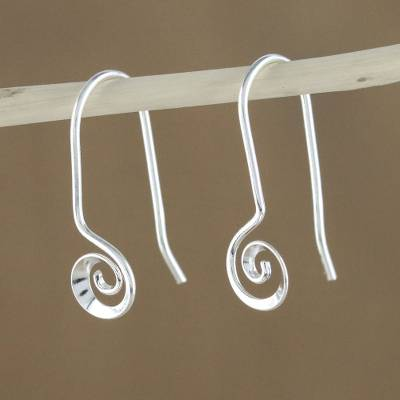 Sterling silver drop earrings, 'Tiny Spirals' - Spiraling Sterling Silver Drop Earrings from Thailand