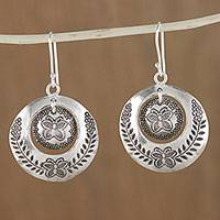 Silver dangle earrings, 'Butterfly Circles' - Karen Silver Butterfly Dangle Earrings from Thailand
