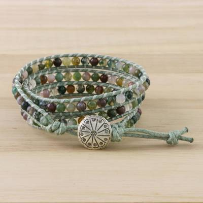 Agate beadedwrap bracelet, 'Stroll Through Nature' - Unisex Agate Bead and Karen Silver Button Wrap Bracelet