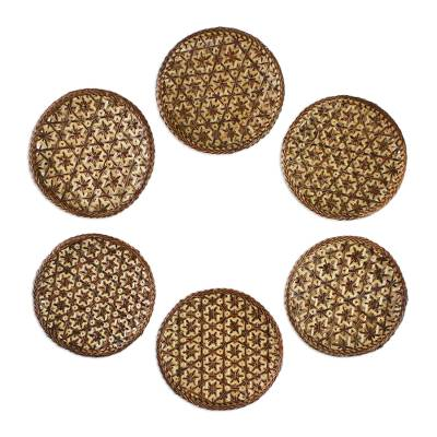 Handcrafted Woven Flower Motif Bamboo Coasters (Set of 6)