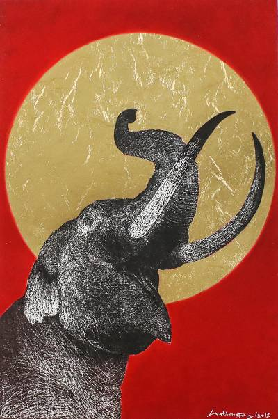 'Be Glad II' - Signed Painting of an Elephant with a Golden Sun
