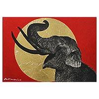 'Be Glad I' - Signed Painting of an Elephant and Golden Sun from Thailand