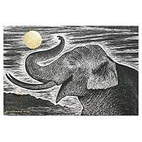 'Watching the Moon' - Signed Painting of an Elephant in Black and White
