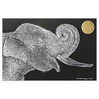 'Pray to the Moon' - Signed Painting of an Elephant with a Golden Moon