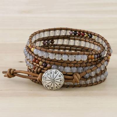 Chalcedony and jasper beaded wrap bracelet, 'Winter Walk' - Chalcedony and Jasper Beaded Wrap Bracelet from Thailand
