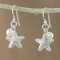 Cultured pearl dangle earrings, 'Delightful Starfish' - Cultured Pearl and Silver Starfish Dangle Earrings