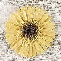 Natural flower brooch, 'Splendid Petals in Buff' - Handmade Buff Gerbera Brooch from Thailand