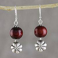 Silver dangle earrings, 'Littleleaf Flowers' - Floral Karen Silver and Wood Dangle Earrings from Thailand