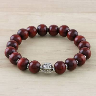 Silver and wood beaded stretch bracelet, Passionate Karen