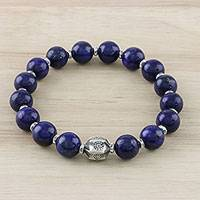 Lapis lazuli beaded stretch bracelet, 'Passionate Karen' - Karen Silver and Lapis Lazuli Beaded Bracelet from Thailand