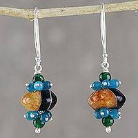 Agate and quartz beaded cluster earrings, 'Deep Forest' (Thailand)