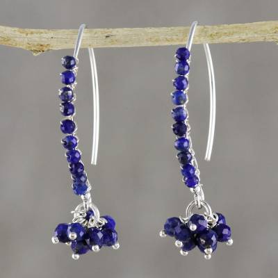 Lapis lazuli beaded dangle earrings, 'Dancing Gleam' - Blue Lapis Lazuli Beaded Dangle Earrings from Thailand