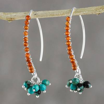 Carnelian beaded dangle earrings, 'Dancing Gleam' - Carnelian and Calcite Beaded Dangle Earrings from Thailand
