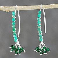 Amazonite beaded cluster earrings, 'Dancing Gleam' - Amazonite Beaded Cluster Earrings from Thailand