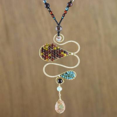 Multi-gemstone pendant necklace, 'Bohemian Delicacy' - Multi-Gemstone Bohemian Pendant Necklace from Thailand