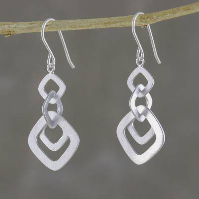 Sterling silver dangle earrings, 'Interlinked Squares' - Square Motif Sterling Silver Dangle Earrings from Thailand