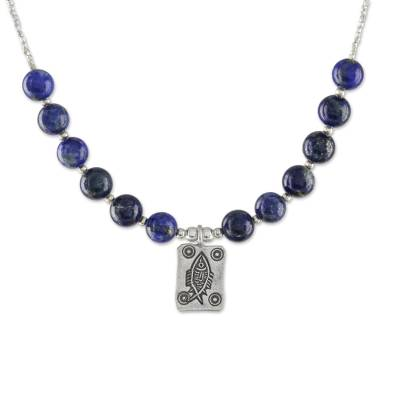 Lapis Lazuli Beaded Pendant Necklace from Thailand
