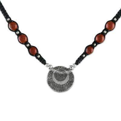 Jasper and Karen Silver Pendant Necklace from Thailand