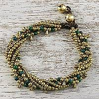Serpentine beaded torsade bracelet, 'Happy Trip' - Serpentine Beaded Torsade Bracelet from Thailand