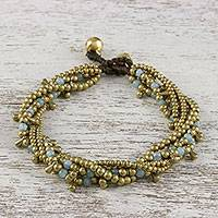 Quartz beaded torsade bracelet, 'Happy Trip' - Quartz Beaded Torsade Bracelet from Thailand