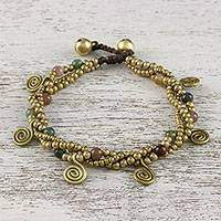 Agate beaded charm bracelet, 'Delightful Spirals' - Agate and Brass Beaded Charm Bracelet from Thailand
