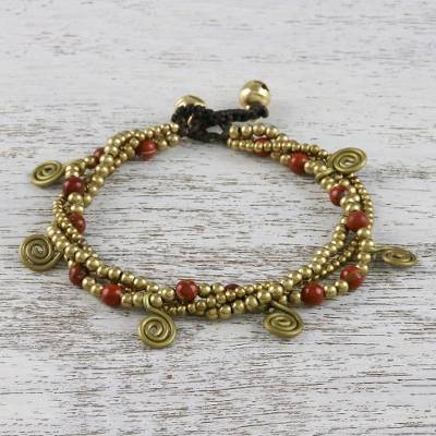 Jasper beaded charm bracelet, 'Delightful Spirals' - Jasper and Brass Beaded Charm Bracelet from Thailand
