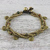 Unakite beaded charm bracelet, 'Delightful Spirals' - Unakite and Brass Beaded Charm Bracelet from Thailand