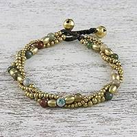 Agate beaded torsade bracelet, 'Musical Love' - Unakite and Brass Beaded Torsade Bracelet from Thailand