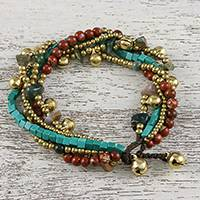 Jasper and agate beaded torsade bracelet, 'Complex Mood' - Jasper and Agate Beaded Torsade Bracelet from Thailand