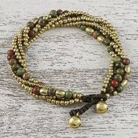 Unakite beaded torsade bracelet, 'Elegant Celebration' - Unakite and Brass Adjustable Beaded Bracelet from Thailand