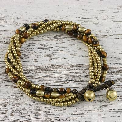 Tiger's eye beaded torsade bracelet, 'Elegant Celebration' - Tiger's Eye Adjustable Beaded Bracelet from Thailand