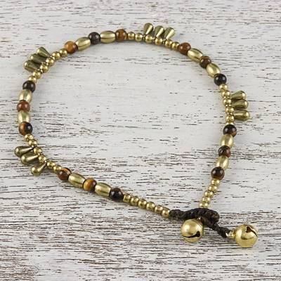 Tigers eye beaded anklet, Musical Wanderer