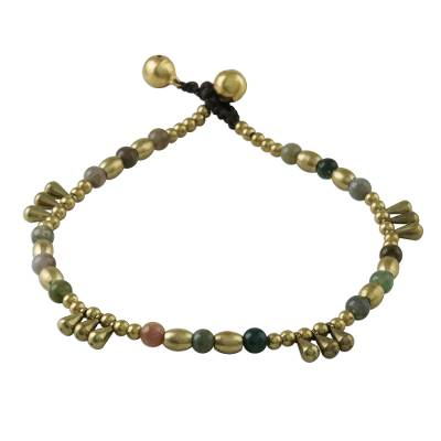 Agate and Brass Beaded Anklet from Thailand