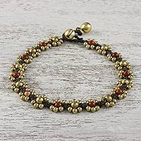 Jasper beaded anklet, 'Musical Dream' - Jasper Adjustable Beaded Anklet from Thailand