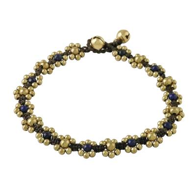 Lapis Lazuli Adjustable Beaded Anklet from Thailand
