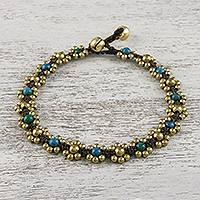 Serpentine beaded anklet, 'Musical Dream' - Serpentine Adjustable Beaded Anklet from Thailand