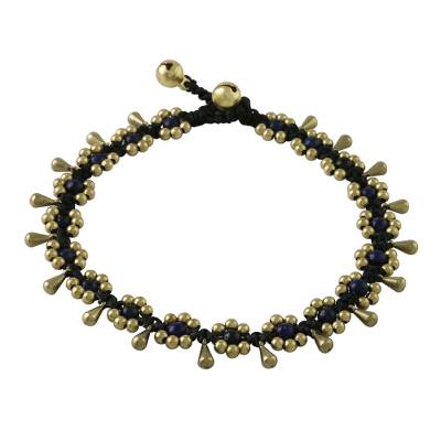 Lapis Lazuli Beaded Anklet with Bells from Thailand