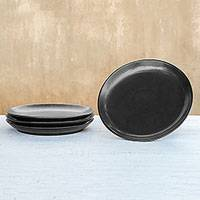 Ceramic dinner plates, 'Subtle Flavor' (set of 4) - Black Ceramic Dinner Plates from Thailand (Set of 4)
