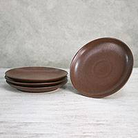 Ceramic salad plates, 'Simple Meal' (set of 4) - Ceramic Salad Plates in Brown from Thailand (Set of 4)